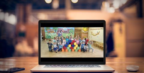 Лего городок в детском саду с ноутбука